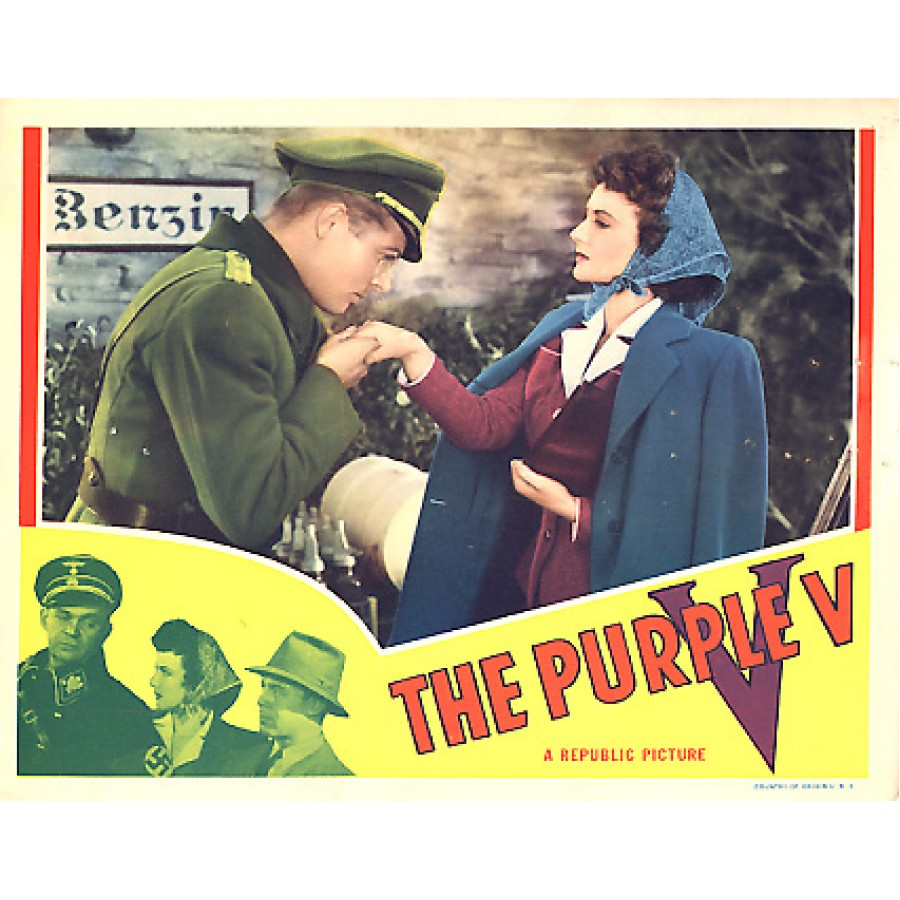 "Poster for ""The Purple V"", 1943 movie based on story by Robert R. Mill (Image courtesy RareWarFilms.com)"